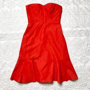 J Crew Red Strapless Dress Women's Size 4 Petite